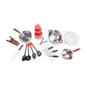 For The Chef 24 Piece Cookware Set; Red