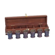 Handcrafted Nautical Decor Anchor Shot Glass Sculpture w/ Rosewood Box (Set of 6); Antique Copper