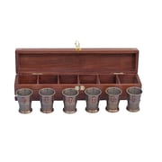 Handcrafted Nautical Decor Anchor Shot Glass Sculpture w/ Rosewood Box (Set of 6); Antique Brass