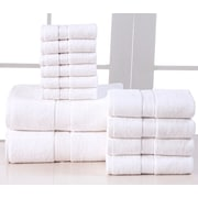 Affinity Linens Elegance Spa 600 GSM Egyptian Quality Cotton 12 Piece Towel Set; White