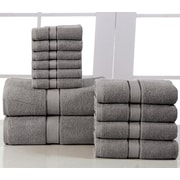Affinity Linens Elegance Spa 600 GSM Egyptian Quality Cotton 12 Piece Towel Set; Platinum
