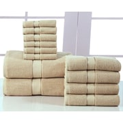 Affinity Linens Elegance Spa 600 GSM Egyptian Quality Cotton 12 Piece Towel Set; Taupe