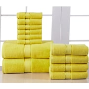 Affinity Linens Elegance Spa 600 GSM Egyptian Quality Cotton 12 Piece Towel Set; Yellow