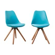 AttractionDesignHome Plastic Dinning Side Chair (Set of 2); Blue