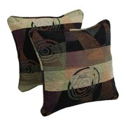 Blazing Needles Jaquard Chenille Throw Pillow (Set of 2); Signature Contemp