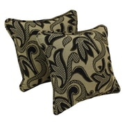 Blazing Needles Floral Tapestry Throw Pillow (Set of 2); Checkered Scroll