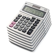 Avalon 12 Digit Dual Powered Desktop Calculator, Tilted LCD Display, SIlver, 6/ Pack