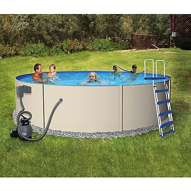 Blue Wave Rugged Steel Round Metal Wall Swimming Pool, 24'(Dia) x 52