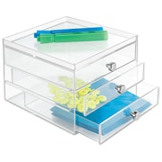 Clarity 3 Drawer Organizer, for Pens, Highlighters, Tape, etc., 3 Drawer Slim, Clear (37060) by
