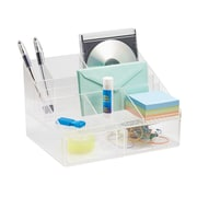 Linus Office Supplies Desk Organizer with Drawers, for Pens, Sticky Notes, Markers, Highlighters, Tape - Clear (42010)
