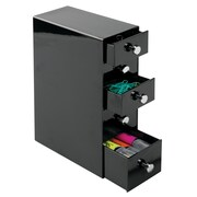 Office Supplies Desk Organizer, for Paper Clips, Highlighters, Pens, Tacks - 5 Drawers, Black (42112)