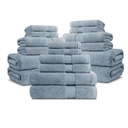 Luxor Linens Bliss Egyptian Quality Cotton Luxury 18 Piece Towel Set; Smoke Blue