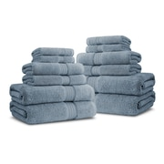 Luxor Linens Bliss Egyptian Quality Cotton Luxury 12 Piece Towel Set; Smoke Blue