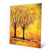Click Wall Art 'Stringy Trees Yellow' Graphic Art on Wood; 12'' H x 9'' W x 1'' D