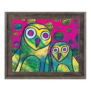 Click Wall Art 'Wild Colorful Owls Gamma' Framed Painting Print; 14.5'' H x 17.5'' W x 1'' D