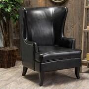 Home Loft Concepts Canterburry High Back Wing Club Chair; Black