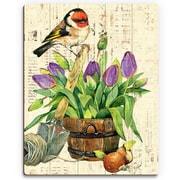 Click Wall Art 'Garden Bird and Purple Tulips' Graphic Art on Wood; 14'' H x 11'' W x 1'' D