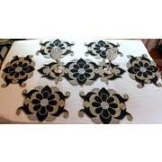 GARIAN Designer Glass Beaded Tabletop Decor 7 Piece Dining Linen Set