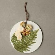 Creative Co-Op Botanist Round Stoneware Cheese Board w/ Fern