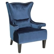 Homegear Royal Velvet Nail Head Trim Wingback Chair; Blue
