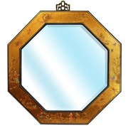 Oriental Furniture Octagonal Wall Mirror; Gold Leaf Lacquer