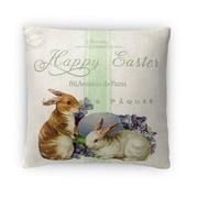 Kavka Two Easter Bunnys Throw Pillow; 18'' H x 18'' W x 4'' D