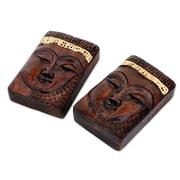 Novica Buddhist Calm Wood Paper Weight (Set of 2)