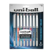 uni-ball® Vision Needle Stick Rollerball Pen, 0.7 mm Fine, Assorted Colors, 8/pk (1734916)