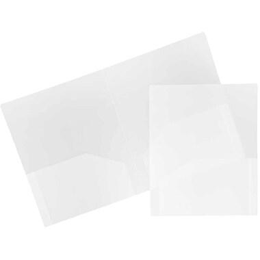 JAM Paper® Plastic Heavy Duty Two Pocket Folders, Clear, 6/pack (3383HCLD)
