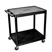 Offex 2 Shelf Utility Cart; Black