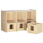 Offex School Daycare Toy 6 Compartment Cubby w/ Bins
