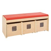 Offex School Daycare Toy 3 Compartment Cubby w/ Bins