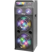 Pyle® Disco Jam 1400 W Dual Passive DJ Speaker System with Flashing DJ Lights, Black (PSUFM1240P)