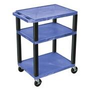 Offex Tuffy 3 Shelf Utility Cart; Blue