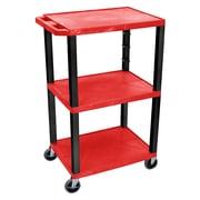 Offex Tuffy 3 Shelf Utility Cart; Black / Red