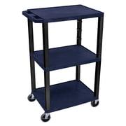 Offex Tuffy 3 Shelf Utility Cart; Black / Navy Blue