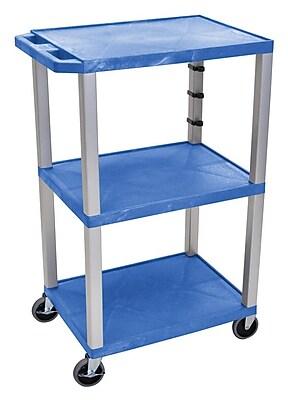 Offex Tuffy 3 Shelf Utility Cart; Gray / Blue WYF078279976770