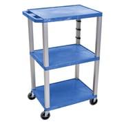 Offex Tuffy 3 Shelf Utility Cart; Gray / Blue