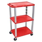 Offex Tuffy 3 Shelf Utility Cart; Gray / Red
