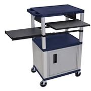 Offex Tuffy 3 Shelf AV Cart; Gray / Navy Blue
