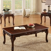 Hokku Designs Ciara 3 Piece Accent Table Set; Dark Cherry