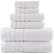 Lunasidus Vanessa 100pct Genuine Turkish Combed Cotton 700 Gram 6 Piece Towel Set; White