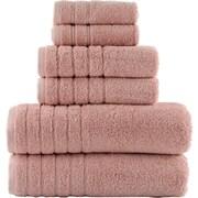 Lunasidus Vanessa 100pct Genuine Turkish Combed Cotton 700 Gram 6 Piece Towel Set; Rose