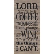 Artistic Reflections 'Lord, Give Me Coffee' Textual Art on Wood in Gray