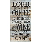 Artistic Reflections 'Lord, Give Me Coffee' Textual Art on Wood in Blue