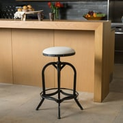 Home Loft Concepts Adjustable Height Swivel Bar Stool; Linen - Off White