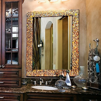 DecorShore Wall Mirror; Brown