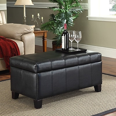 WorldWide HomeFurnishings Storage Ottoman; Black