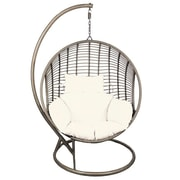 Essential Decor & Beyond Pe Rattan and Steel Frame Hanging Chair w/ Cushion