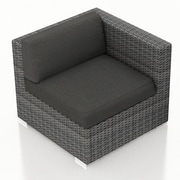 Harmonia Living District Right Arm Section Chair w/ Cushion; Canvas Charcoal